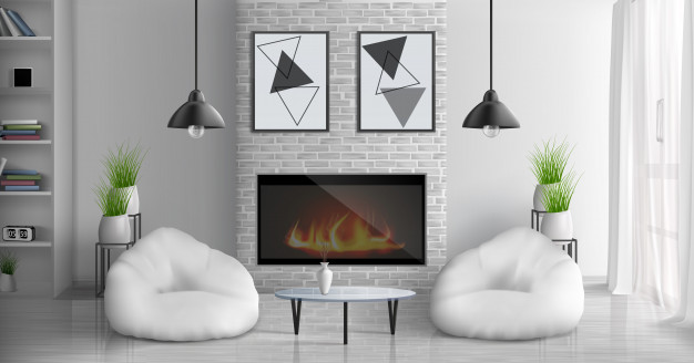 house-cozy-living-room-3d-realistic-interior-with-glass-coffee-table-bookshelves-abstract-paintings-wall-flowerpots-hanging-lamps-two-bean-bag-chairs-near-fireplace-illustration_1441-3449